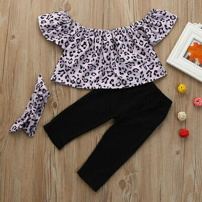 Newborn Kids Baby Girls Outfits Clothes Leopard Tee Tops+Pants+Headband Suit
