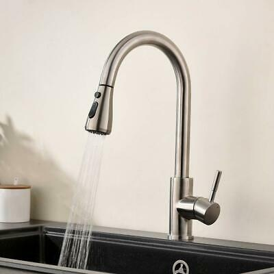 Comllen Commercial High Arc Brushed Nickel Kitchen Faucet Pull Out Spout Single