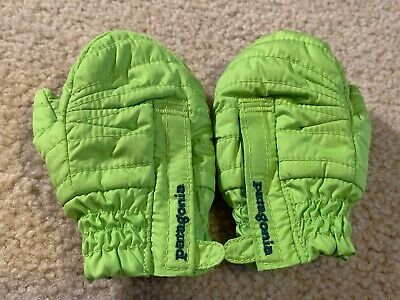New Baby's Infant's Patagonia Puff Mittens Peppergrass Green Size 6-12 Months