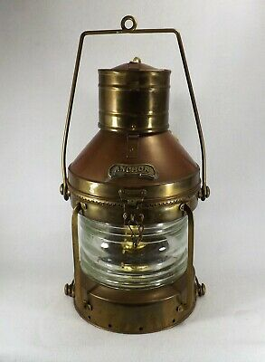 Vintage Nautical ANCHOR Copper Ship Lantern Light LARGE Oil & Electric Beauty!