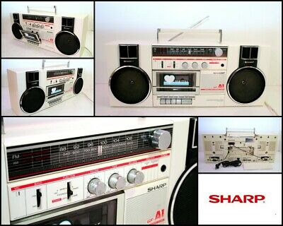 Vintage SHARP GF-A1 White Portable Stereo Component System Boombox Japan