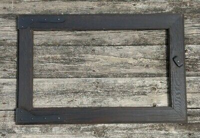 Antique Mission Arts & Crafts Oak Picture Frame Unusual Hinge Design 29x19