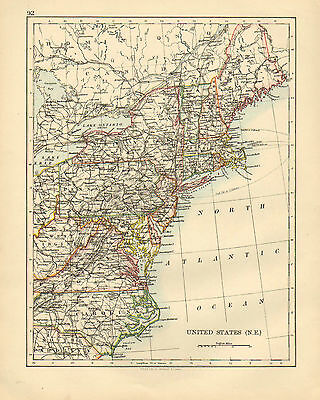 1892 Victorian Map ~ United States North East ~ New York Pennsylvania Maine