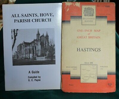 Vintage ordinance survey map of Hastings + pamphlet of Hove Parish Church