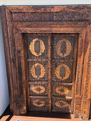 Antique Indian Palace hardwood century old doors inlaid with brass designs