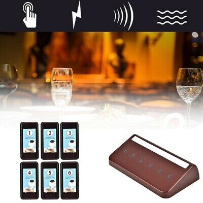 Wireless Restaurant Coaster 6 Pager Guest Waiter Calling Paging Queuing System