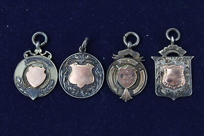 4 x Vintage Hallmarked Solid SILVER Pocket Watch Fobs Inc. Gold On Silver (37g)