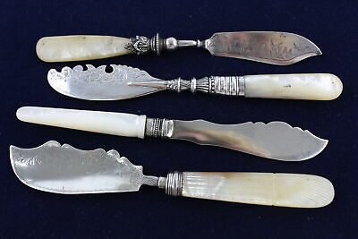 4 x Vintage Hallmarked .925 STERLING SILVER Butter Spreaders w/ MOP Handles 130g