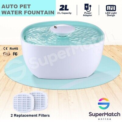 2L Dog Drinking Fountain Dispenser Pet Cat Water Feeder Bowl w/ LED Automatic
