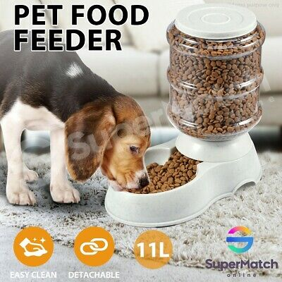 11L Automatic Pet Dog Cat Food Feeder Large Bowl Bottle Dispenser Plastic