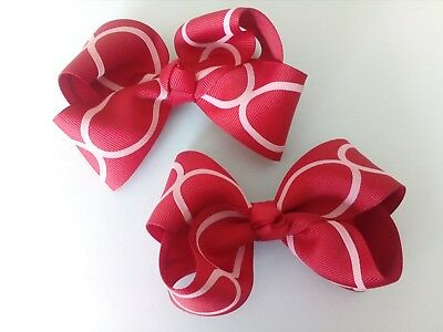 Large Girl Kids Hair Bows Clips Red Bows Alligator Clips 4 Inch Hair Accessories