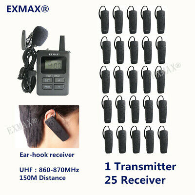 EXMAX Ear-Hook Wireless Tour Guide System EX-860 1 Transmitter 25 Receivers NEW