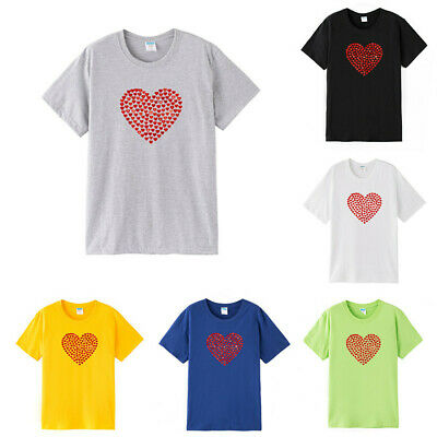 Love Heart-shaped Printed Men's Women's T-shirt Leisure Stag Hen Tops Summer Tee