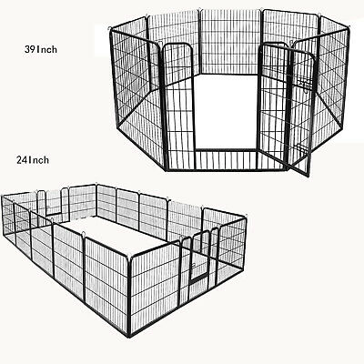 "24""39""Tall Metal Dog Cat Exercise Fence Playpen Kennel 8/16 Panel Safe For Pet"