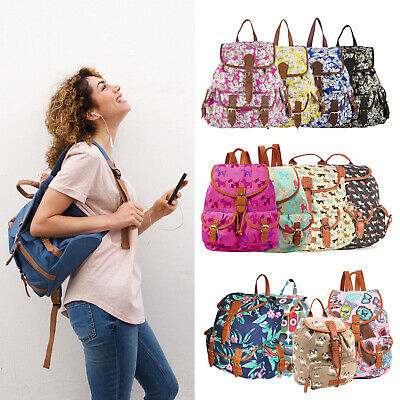 Ladies Girls Large Backpack Rucksack Handbag Fashion School Travel Canvas Bag UK