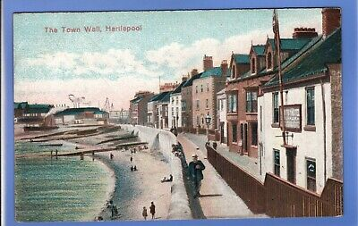 Old Vintage Postcard The Town Wall Hartlepool County Durham