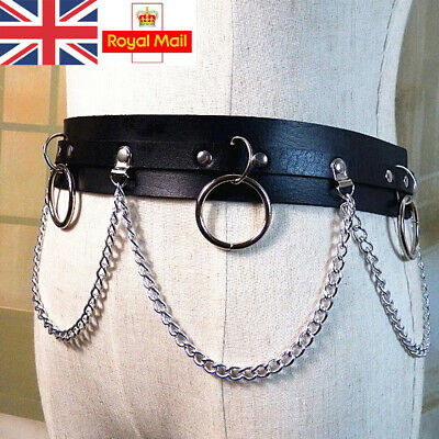 Punk Faux Leather Belt Adjustable Laser Metal Chain Hoop Rings Waist Strap Black
