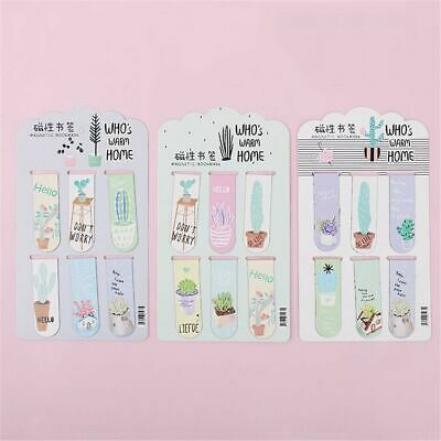 6pcs Fresh Cactus Magnetic Bookmarks Creative Book Labels Paper Page Clips New
