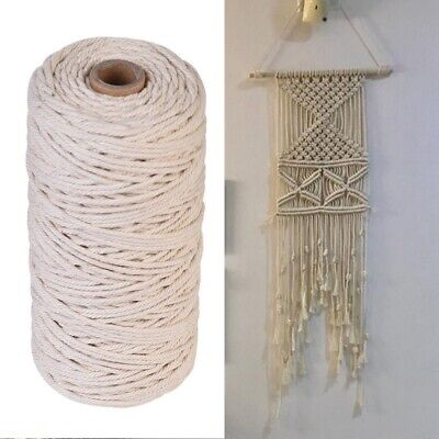 AU 200m 100% Natural Cotton String Twisted Cord Beige Craft Macrame Artisan 3mm