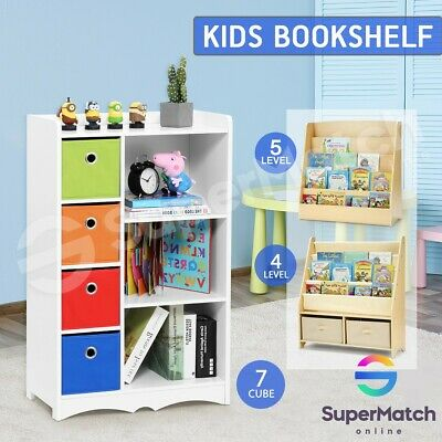 Kids Bookshelf Wooden Bookcase Rack Toy Organiser Storage Display Book Shelf
