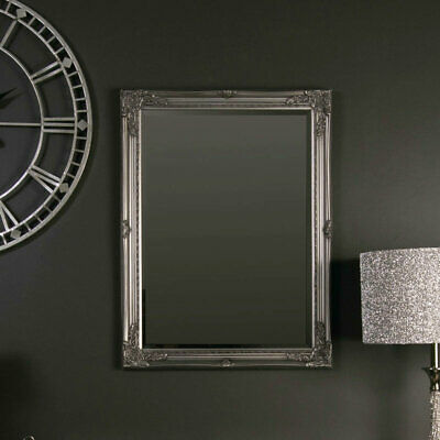 Ornate vintage silver wall mounted mirror French shabby chic living room hallway