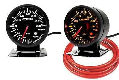 60mm Turbo Boost Gauge 3 Bar With Peak Warning White/Amber Light Red Hose