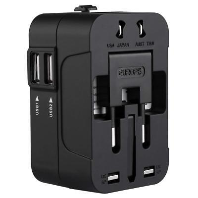 Black World Wide Universal Travel Adapter Multi Plug Charger with Dual USB 2Port