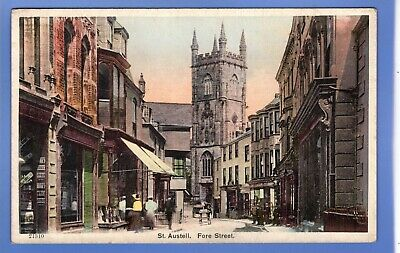 Old Vintage Postcard Fore Street St Austell Cornwall
