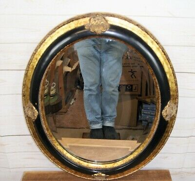 Large Antique Baroque Style Oval Bevelled Glass Wall Mirror Black & Gold Frame