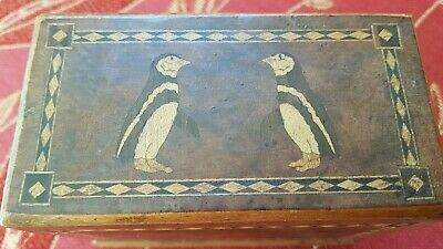 Antique Small Wooden Inlaid Hinged Box Featuring Penguins