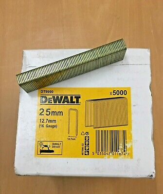 DT9990  25mm x 12.7mm Staples for Dewalt D51431 16 gauge Medium crown stapler