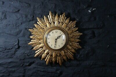 Vintage Gilt Framed Round Sunburst Wall Clock ~ Art Deco ~ Battery Powered