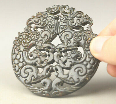 Old Chinese natural jade hand-carved double dragon pendant