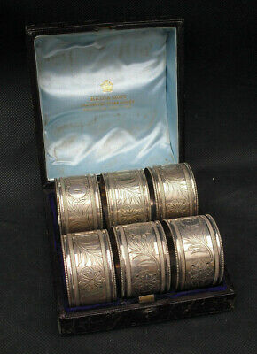 Reed & Sons silver plate set of Victorian napkin rings numbered empty cartouches