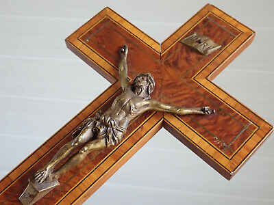 ⭐ vintage religious wall cross, crucifix ,wood & metal christ⭐