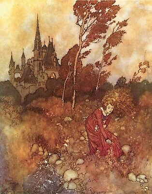 Fairy Tale Postcard: Vintage French repro- Woman Picking Flowers, Castle