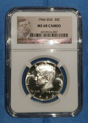 1966 P SMS KENNEDY HALF DOLLAR - NGC MS68 CAMEO - 50c 50 CENT COIN