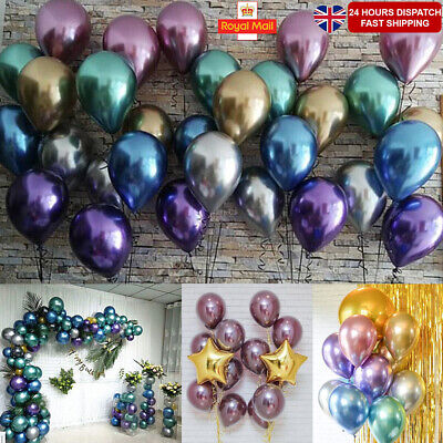 "UK 10-100Pcs 12"" Two-Layer Metallic Latex Baloons Chrome Balloons Hen Party Hot"