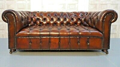 Antique Restored Brown Leather Chesterfield Sofa Fully Coil Sprung Frame
