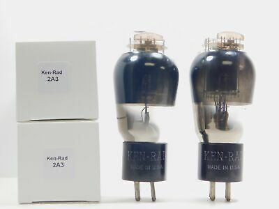 Ken-Rad 2A3 Matched Vintage Vacuum Tube Pair Smoked Glass D Getter (Test 94%)