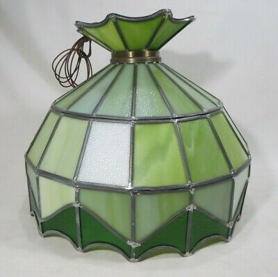RETRO Vint Stained Glass Hanging Ceiling Fixture Pendant Light Avacado Green NOS