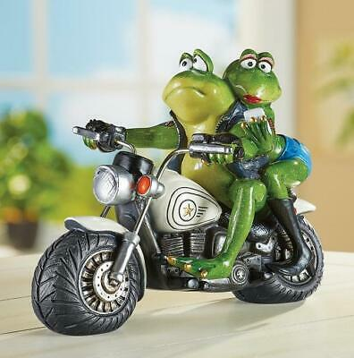 "Whimsical Biker Frog Couple Home Lawn Garden Statue 7 1/4""H Resin"