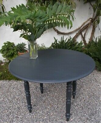 antique round table,  painted dark grey, shabby,french