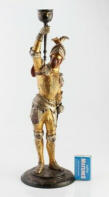 ANTIQUE c1890 Figural Medieval Gothic Knight in Armour Candlestick No Reserve