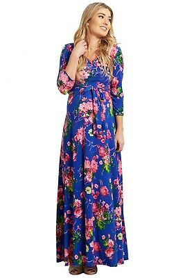 fcfa601909246 NWT Pink Blue Maternity Maxi gown dress S Blue Floral Draped Sold Out