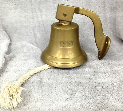 Large Brass Nautical Style Ships Bell 1827 inscribed With Bracket /Door Bell#444