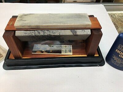 Vintage Smith's Tri-Hone Wet -Stone Holder Knife Sharpening Tool Cedar Stand