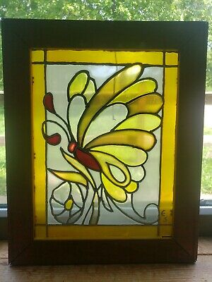 Vintage Leaded Stained Glass Butterfly Art Framed In ANTIQUE Anco Bilt Easel