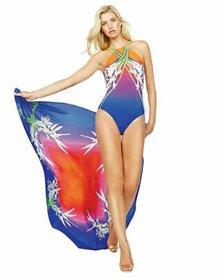 NWT GOTTEX 100/% Silk FLORAL DESIGN SARONG WRAP COVER-UP DRESS SKIRT one size