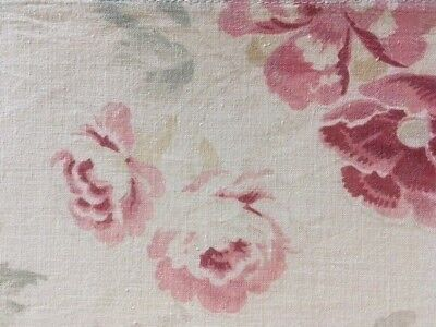 Antique French Madder Dye Floral Fabric Cotton Roses 19th C